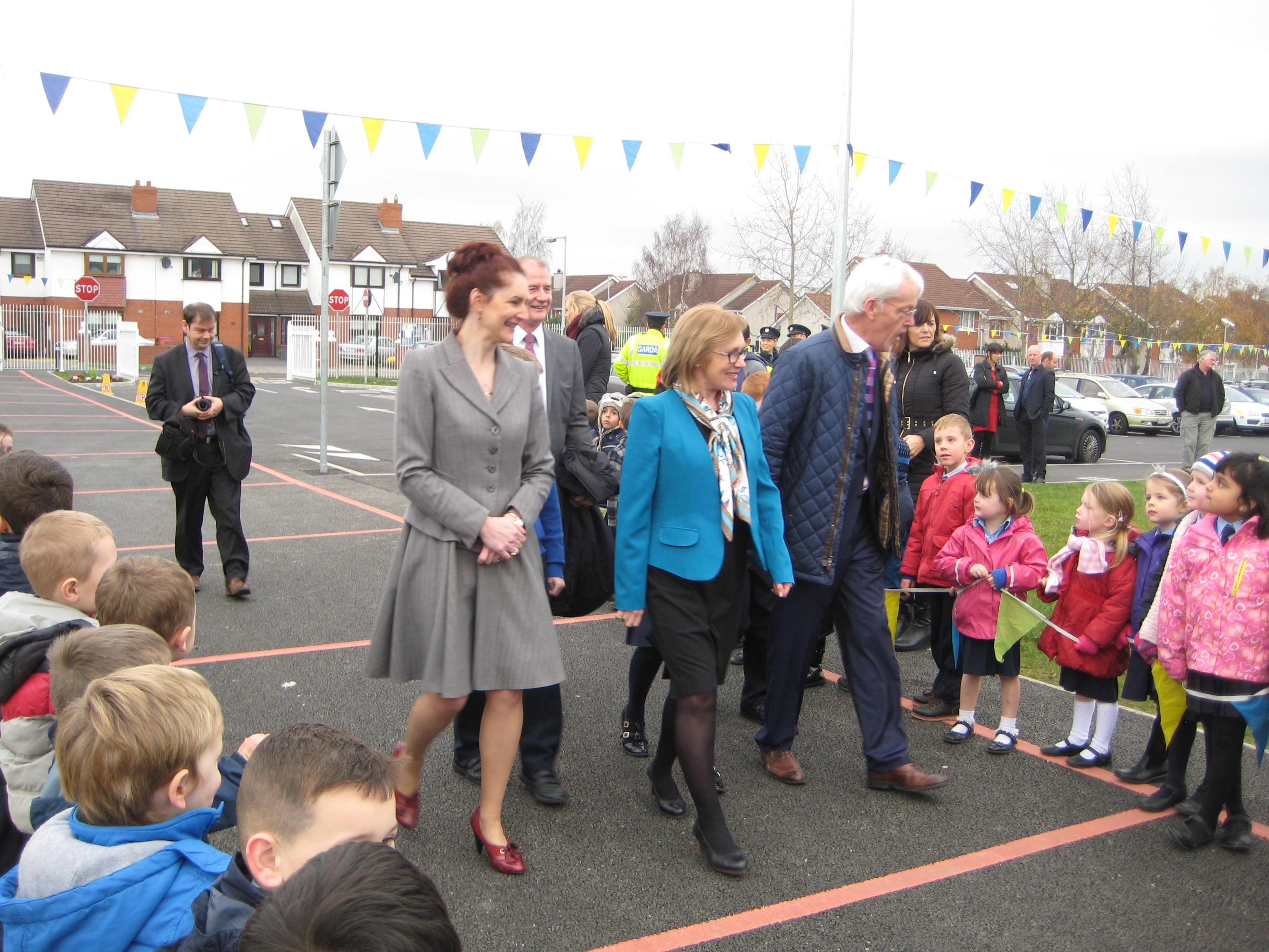 Ms Keane, Sean Goan, Minister of Education Jan O'Sullivan,Max Cannon [Principal]